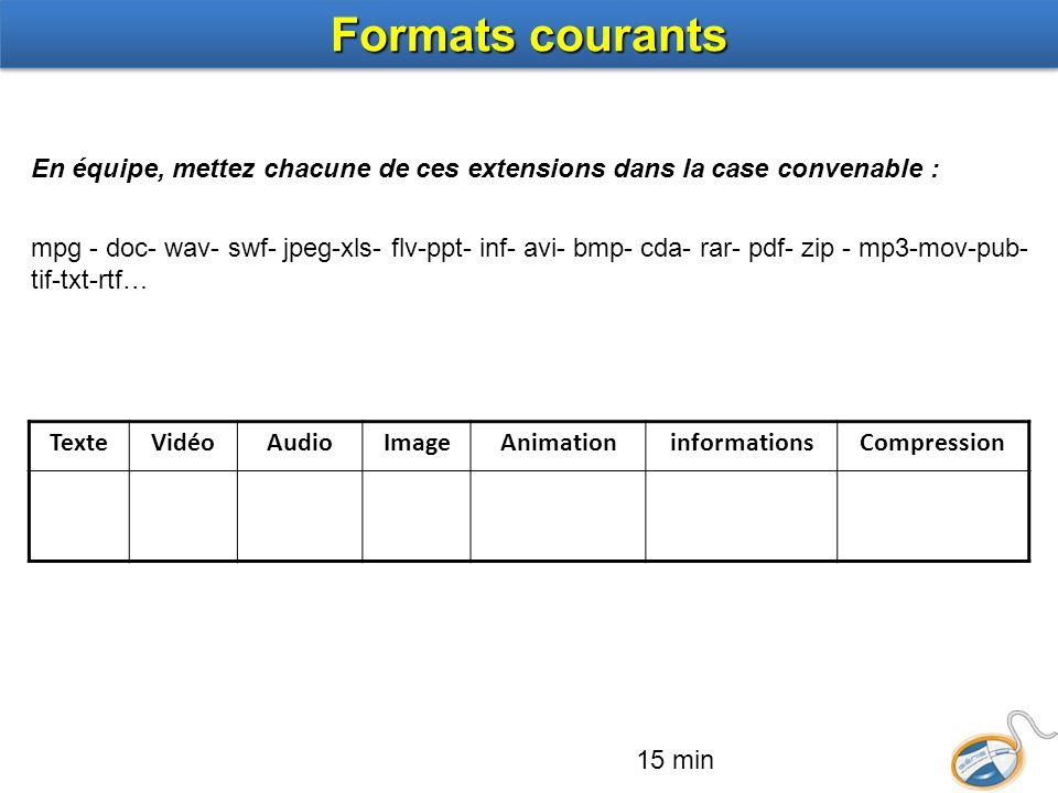 Formats courants En équipe, mettez chacune de ces extensions dans la case convenable :