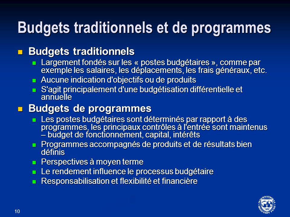 Budgets traditionnels et de programmes