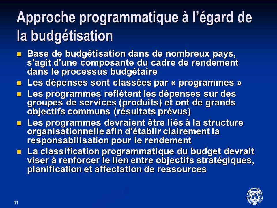 Approche programmatique à l'égard de la budgétisation