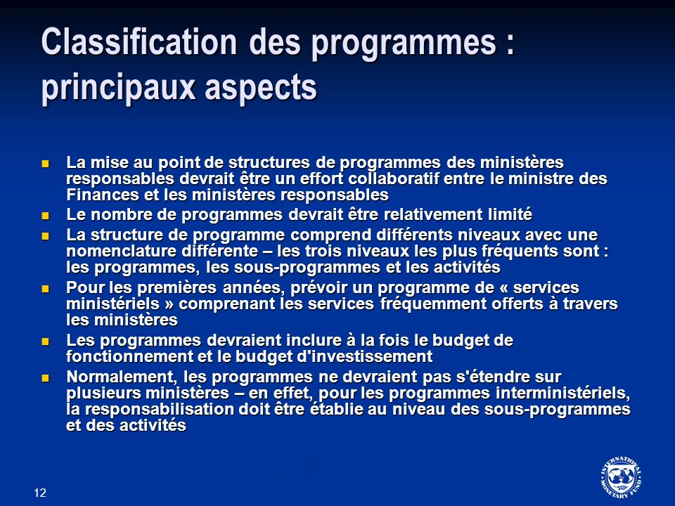 Classification des programmes : principaux aspects
