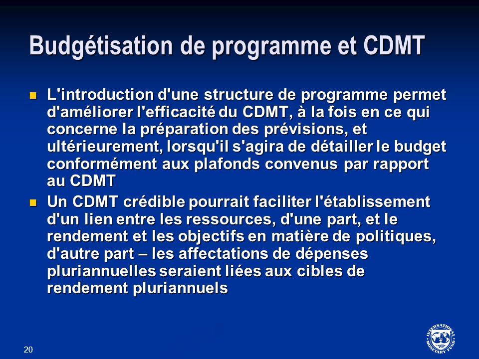 Budgétisation de programme et CDMT