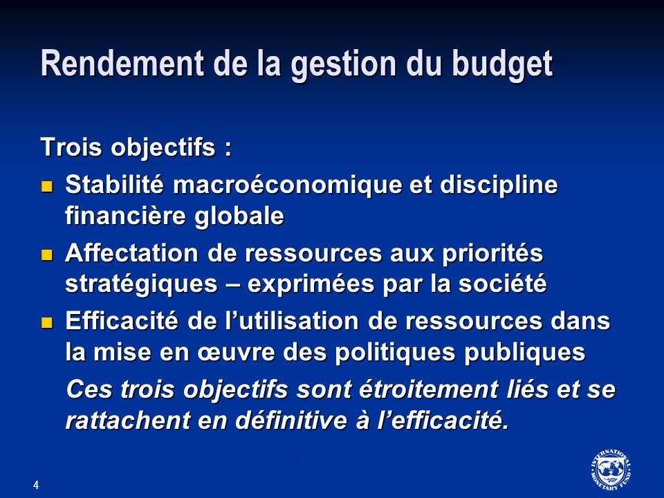 Rendement de la gestion du budget
