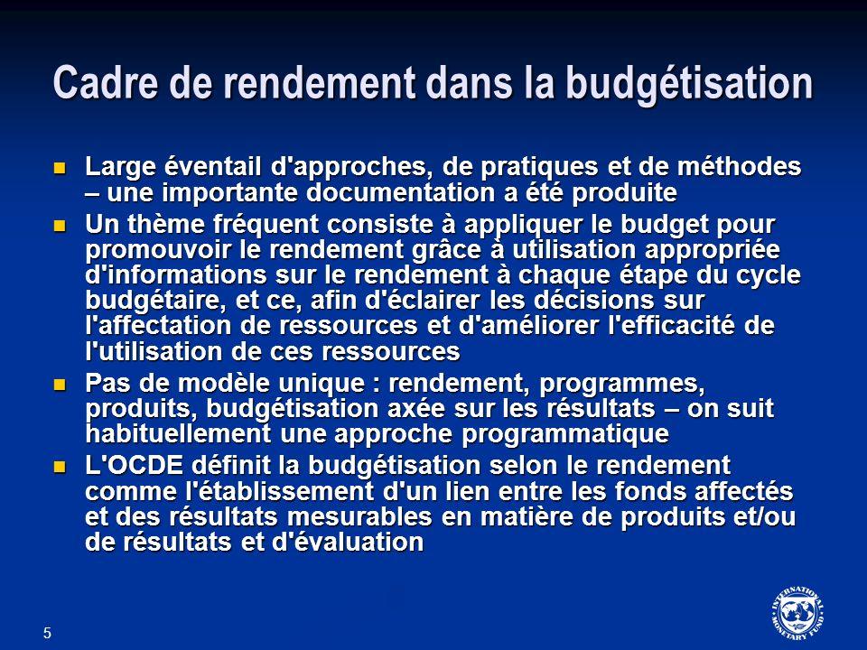 Cadre de rendement dans la budgétisation