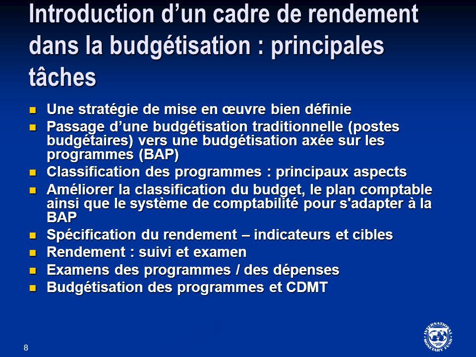 Introduction d'un cadre de rendement dans la budgétisation : principales tâches