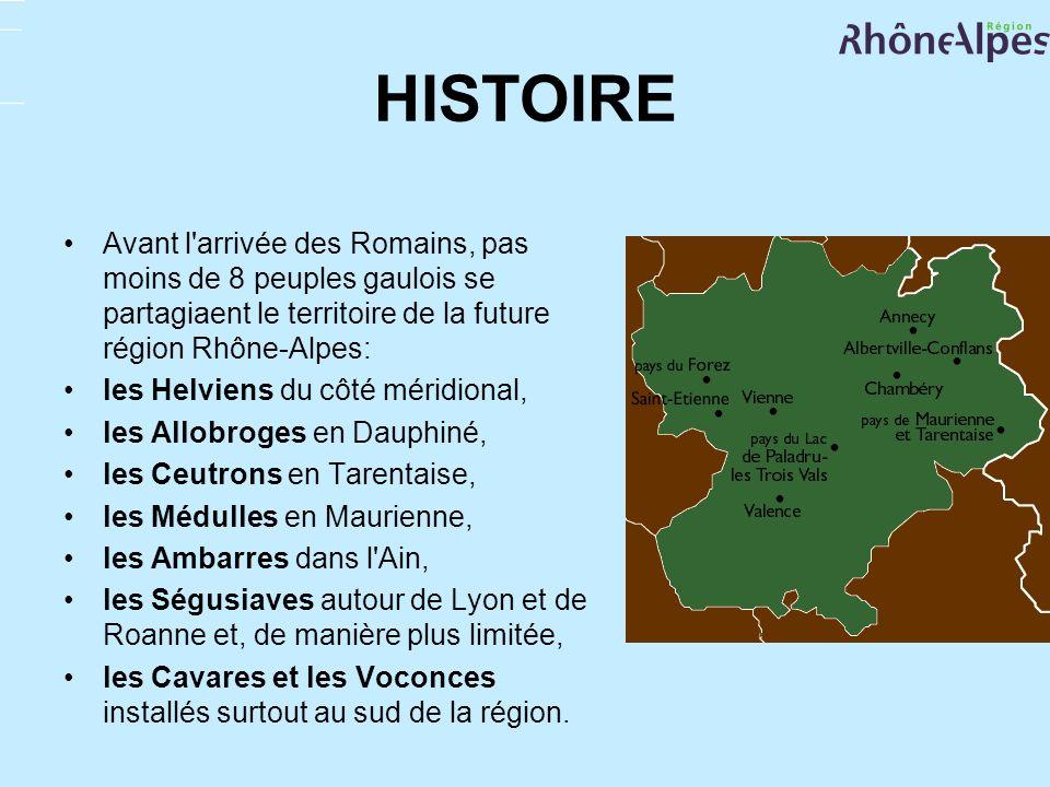 HISTOIREAvant l arrivée des Romains, pas moins de 8 peuples gaulois se partagiaent le territoire de la future région Rhône-Alpes: