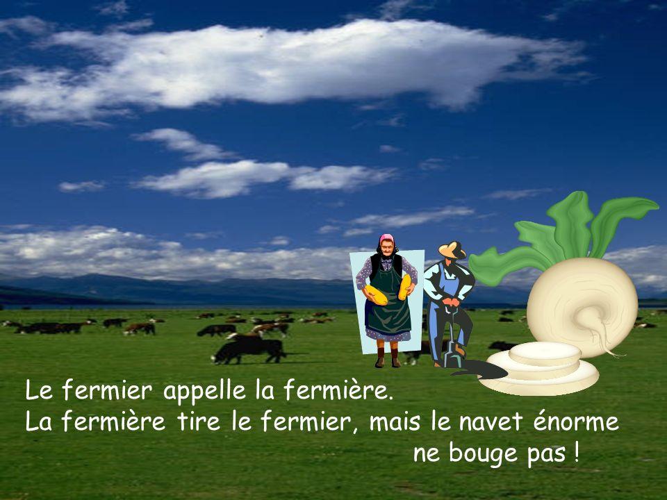 Le fermier appelle la fermière.