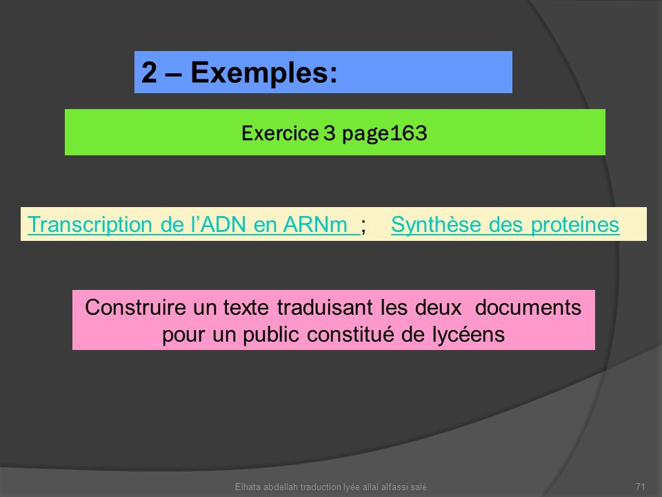 2 – Exemples: Exercice 3 page163