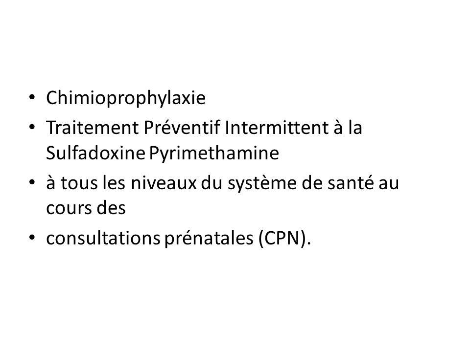Chimioprophylaxie Traitement Préventif Intermittent à la Sulfadoxine Pyrimethamine. à tous les niveaux du système de santé au cours des.