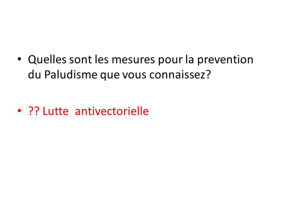 Quelles sont les mesures pour la prevention du Paludisme que vous connaissez