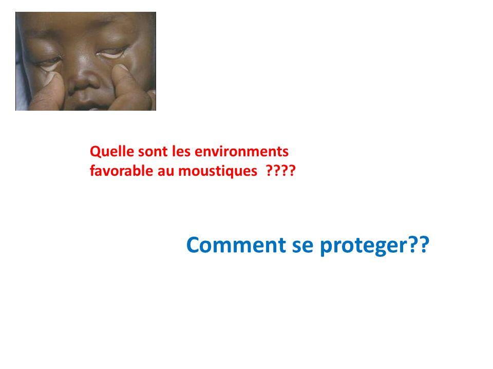 Quelle sont les environments favorable au moustiques
