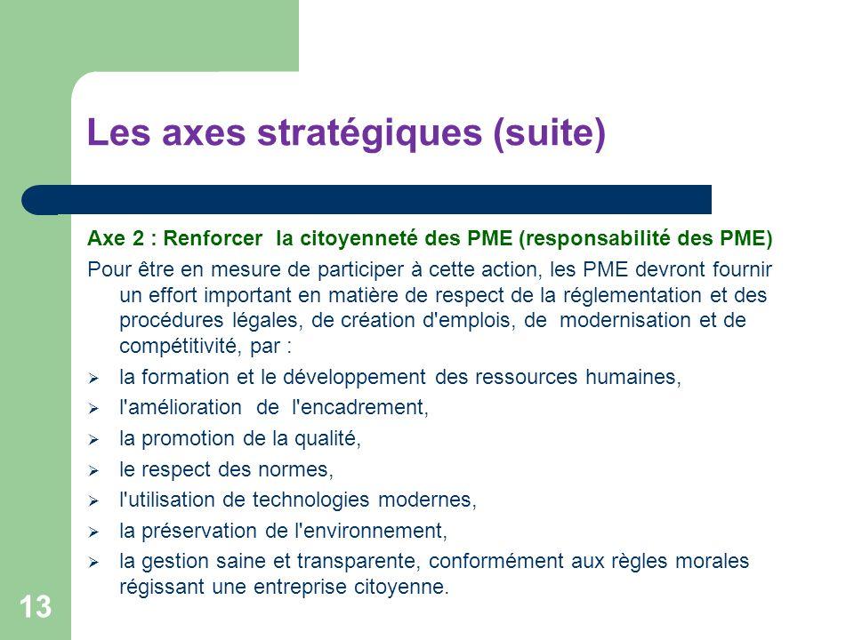 Les axes stratégiques (suite)