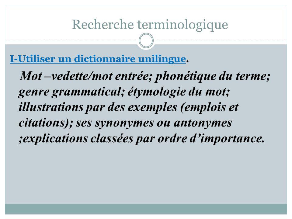 Recherche terminologique