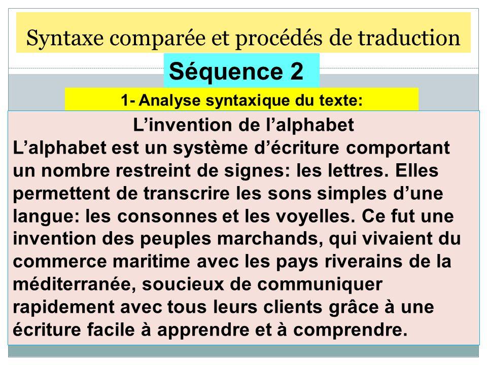 Syntaxe comparée et procédés de traduction