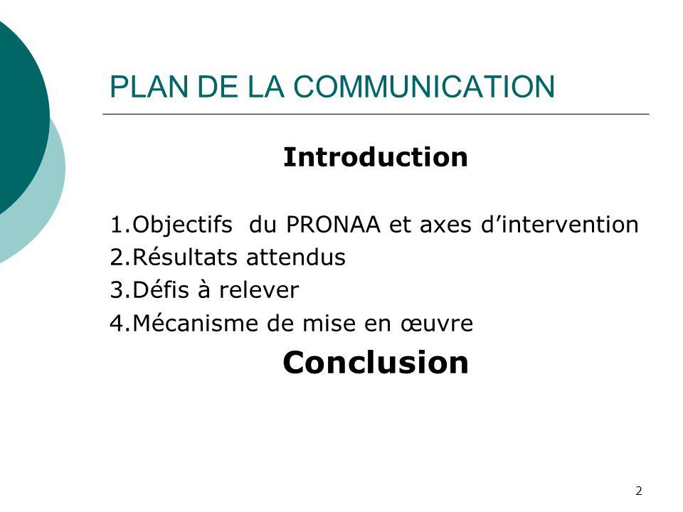PLAN DE LA COMMUNICATION