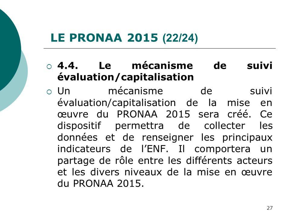 LE PRONAA 2015 (22/24) 4.4. Le mécanisme de suivi évaluation/capitalisation.
