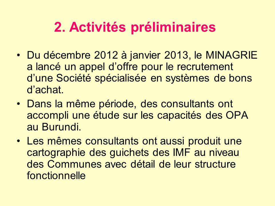2. Activités préliminaires