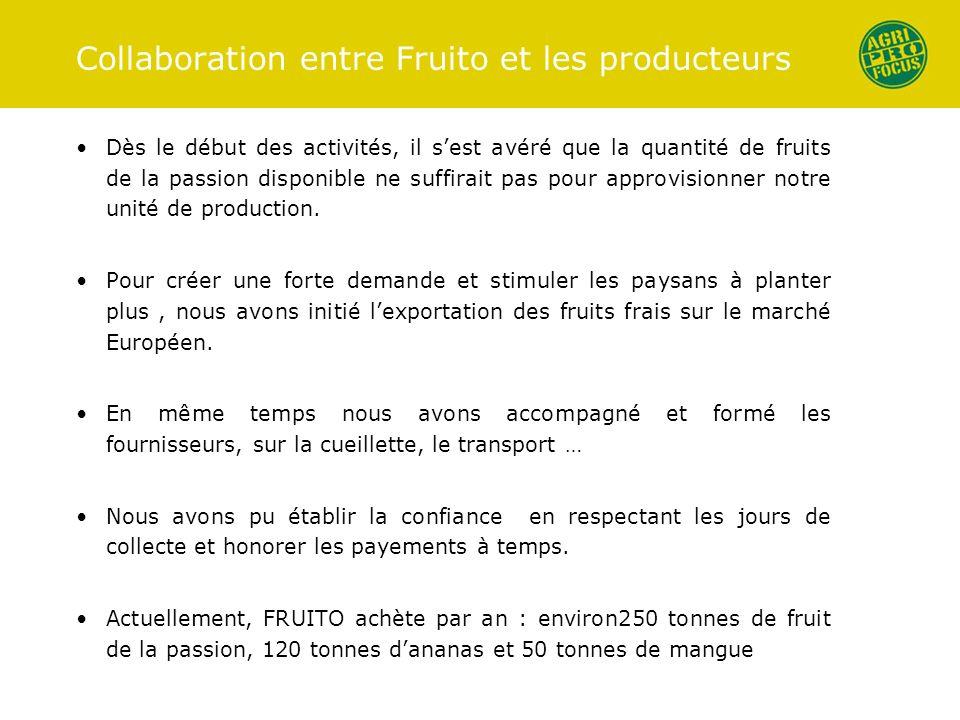 Collaboration entre Fruito et les producteurs