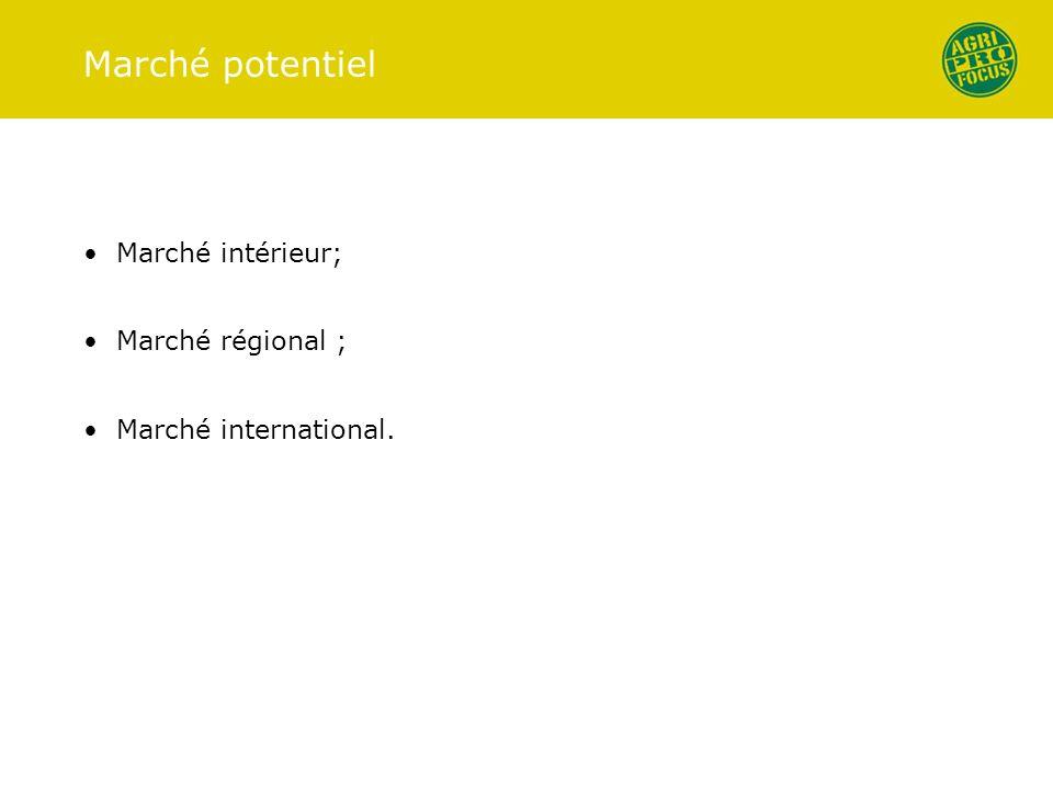Marché potentiel Marché intérieur; Marché régional ;