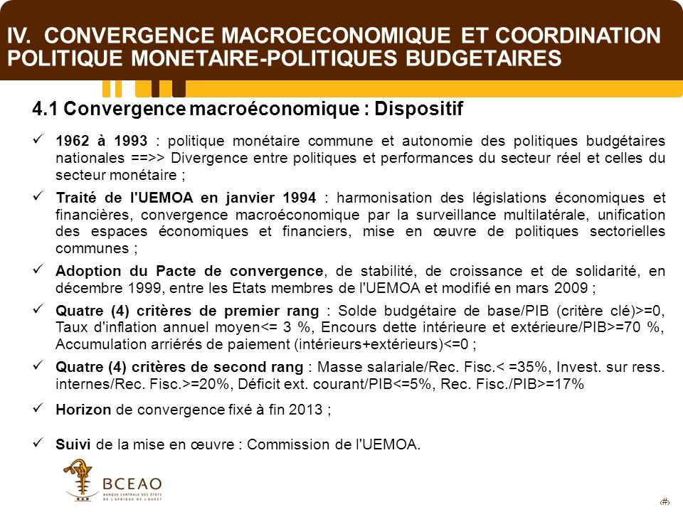 IV. CONVERGENCE MACROECONOMIQUE ET COORDINATION POLITIQUE MONETAIRE-POLITIQUES BUDGETAIRES