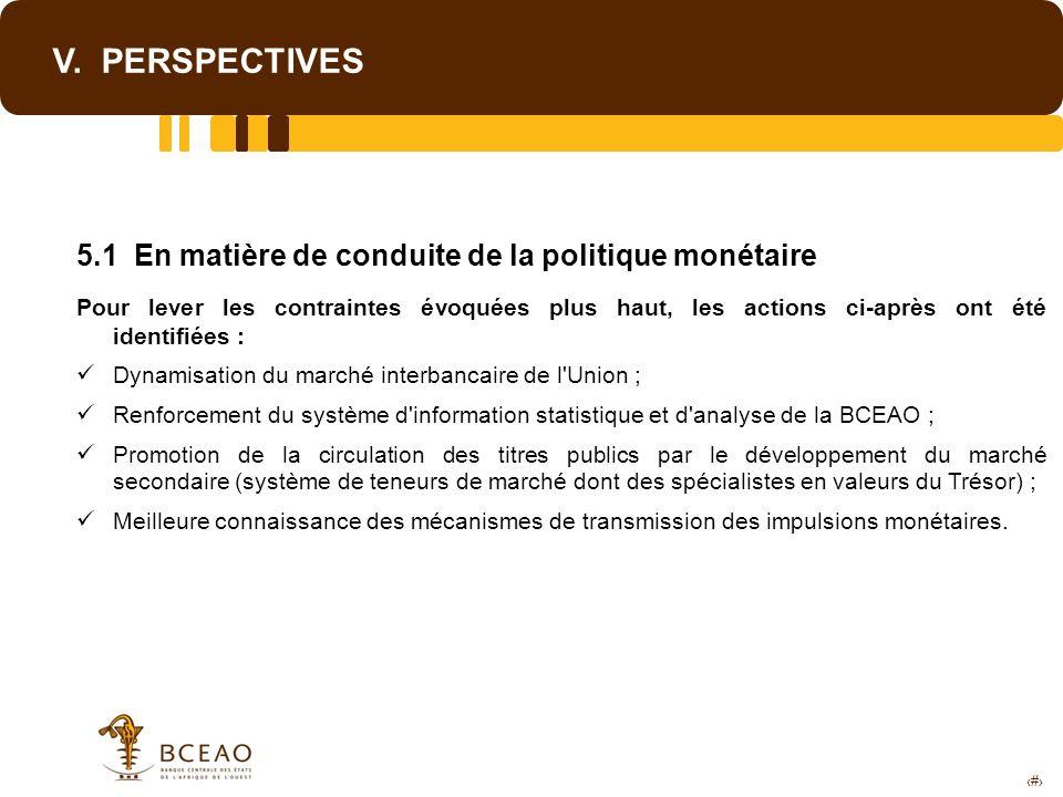 V. PERSPECTIVES 5.1 En matière de conduite de la politique monétaire