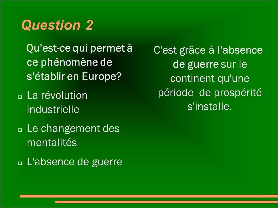 Question 2 Qu est-ce qui permet à ce phénomène de s établir en Europe