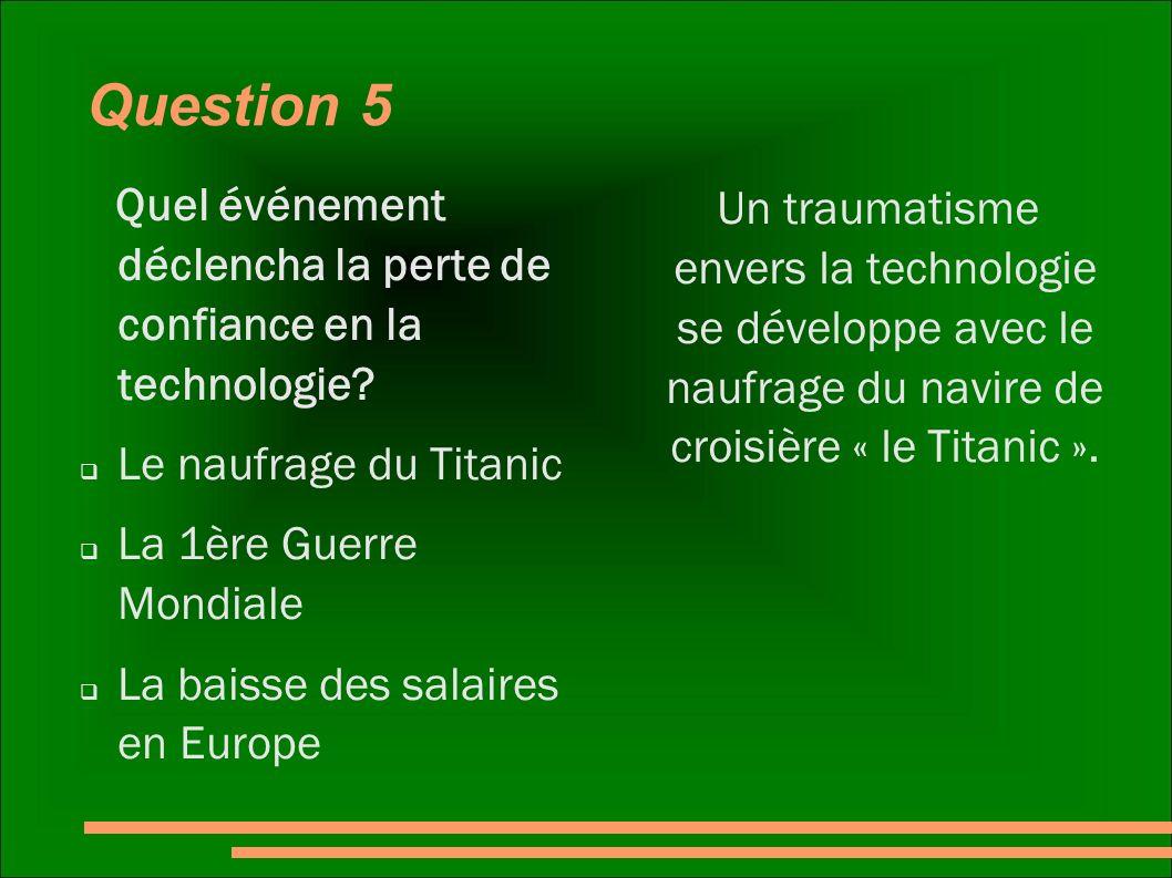 Question 5 Quel événement déclencha la perte de confiance en la technologie Le naufrage du Titanic.