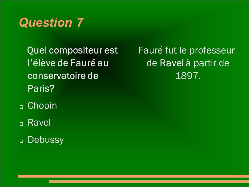 Fauré fut le professeur de Ravel à partir de 1897.