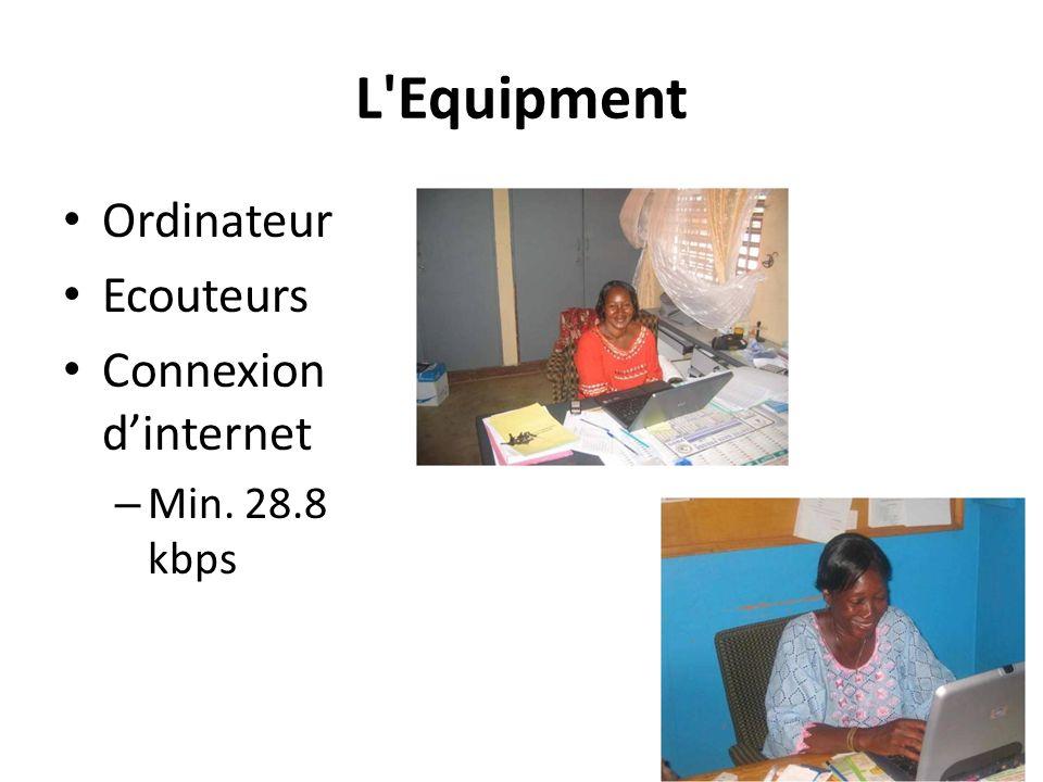 L Equipment Ordinateur Ecouteurs Connexion d'internet Min. 28.8 kbps