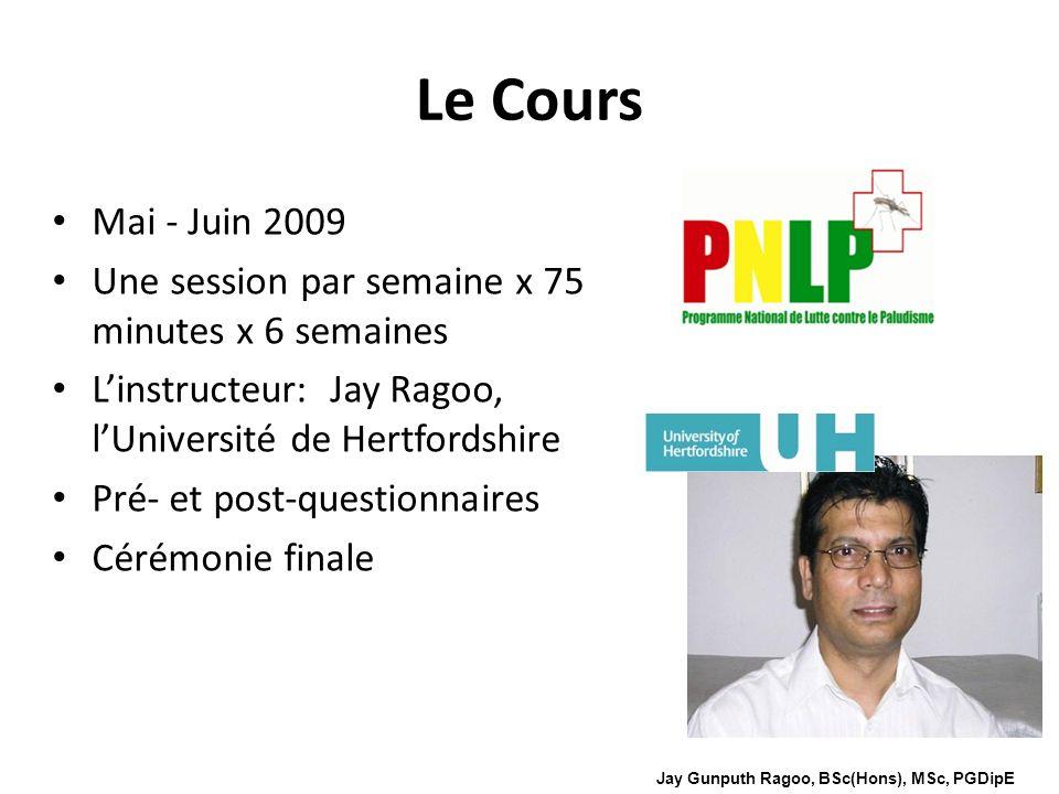 Le Cours Mai - Juin 2009. Une session par semaine x 75 minutes x 6 semaines. L'instructeur: Jay Ragoo, l'Université de Hertfordshire.