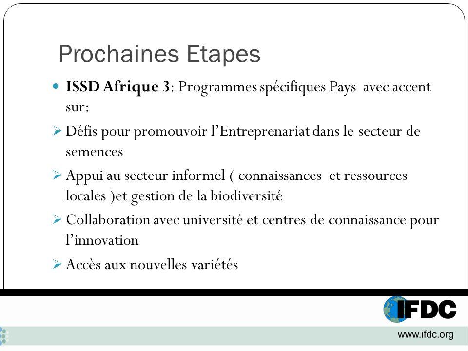 Prochaines Etapes ISSD Afrique 3: Programmes spécifiques Pays avec accent sur: Défis pour promouvoir l'Entreprenariat dans le secteur de semences.
