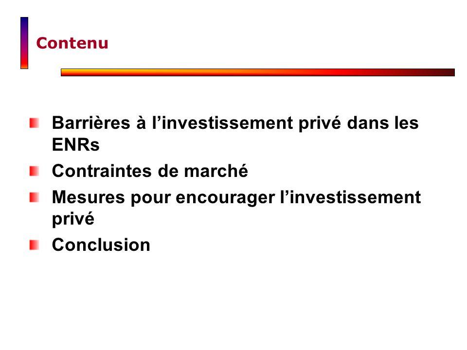Barrières à l'investissement privé dans les ENRs Contraintes de marché