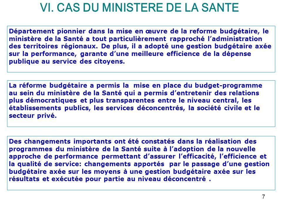 VI. CAS DU MINISTERE DE LA SANTE