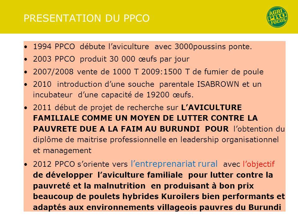 PRESENTATION DU PPCO 1994 PPCO débute l'aviculture avec 3000poussins ponte. 2003 PPCO produit 30 000 œufs par jour.