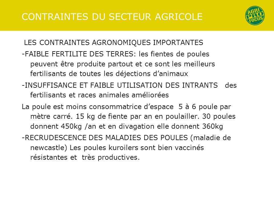 CONTRAINTES DU SECTEUR AGRICOLE