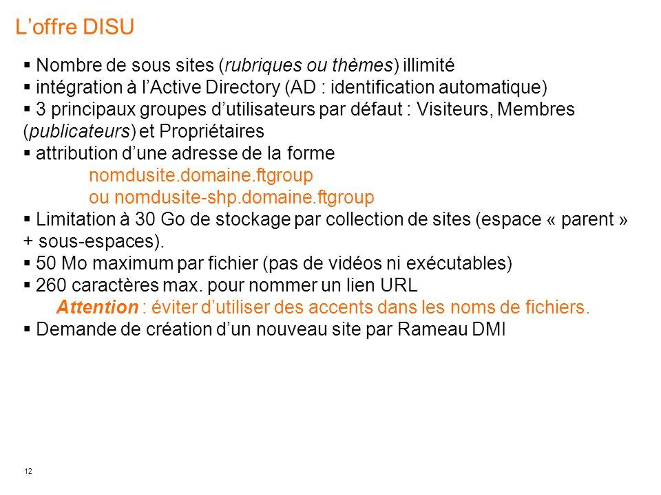 L'offre DISU Nombre de sous sites (rubriques ou thèmes) illimité
