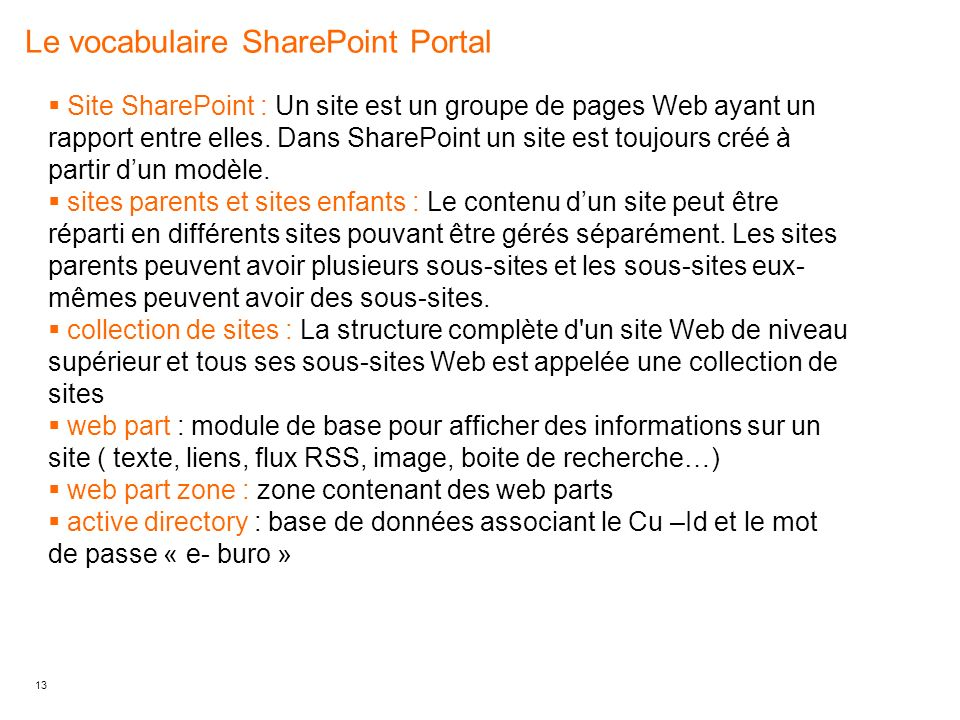 Le vocabulaire SharePoint Portal