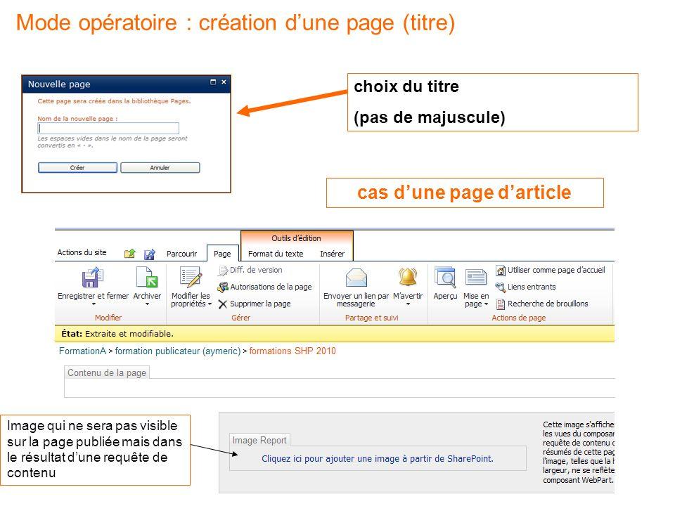 Mode opératoire : création d'une page (titre)