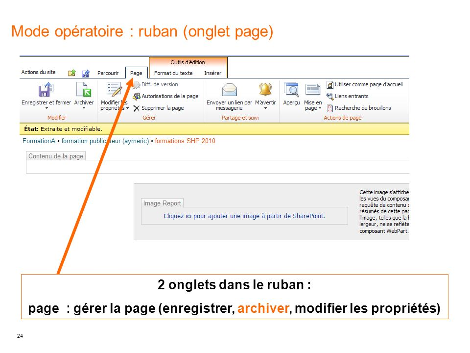 Mode opératoire : ruban (onglet page)