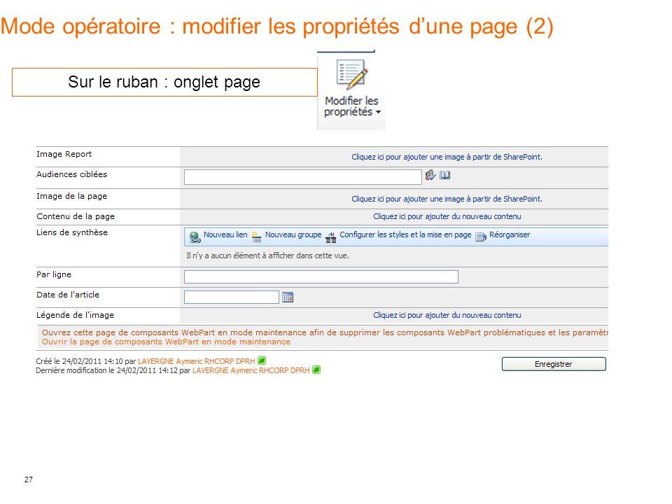 Mode opératoire : modifier les propriétés d'une page (2)