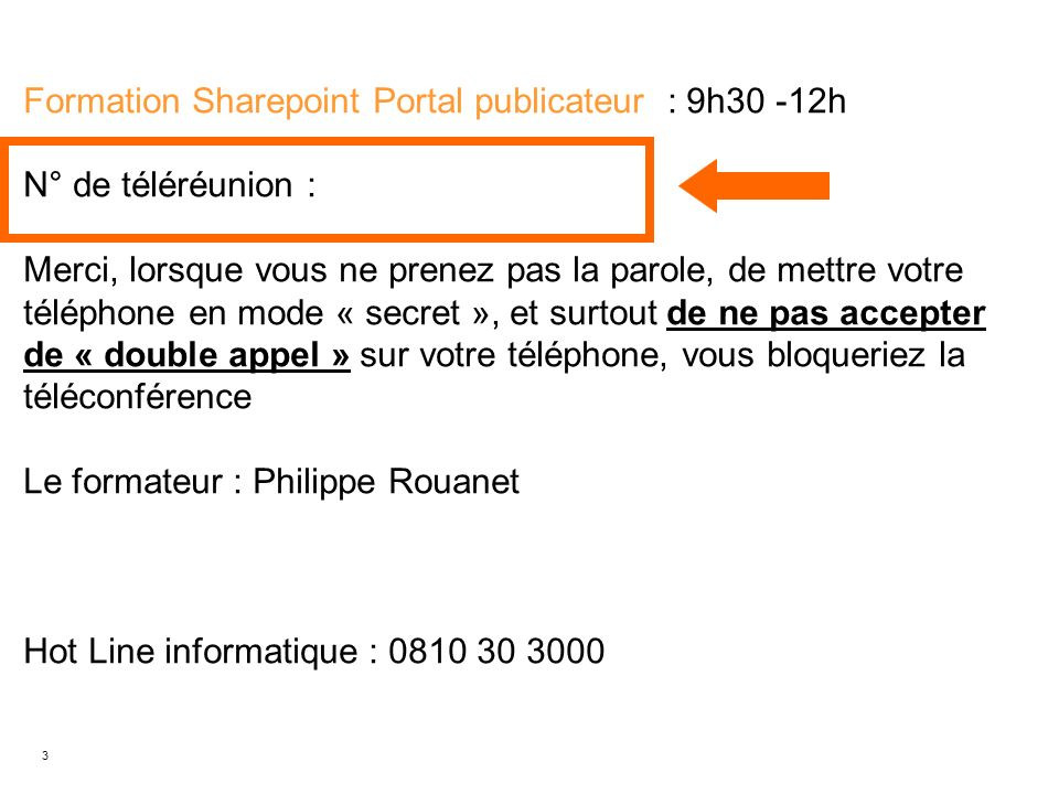 Formation Sharepoint Portal publicateur : 9h30 -12h