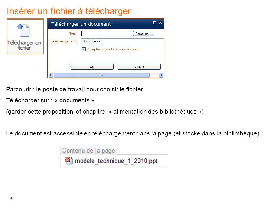 Insérer un fichier à télécharger