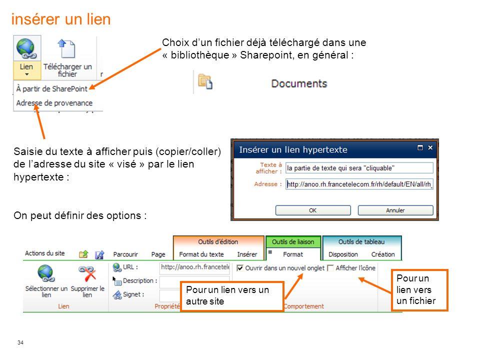 insérer un lien Choix d'un fichier déjà téléchargé dans une « bibliothèque » Sharepoint, en général :