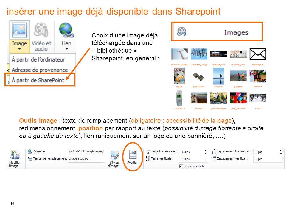 insérer une image déjà disponible dans Sharepoint