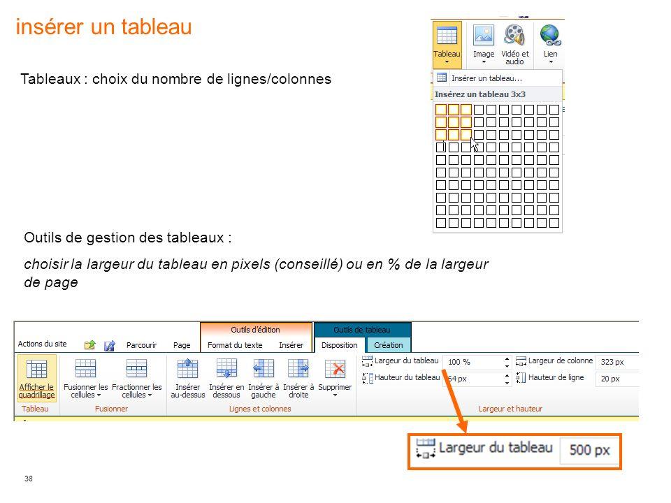insérer un tableau Tableaux : choix du nombre de lignes/colonnes