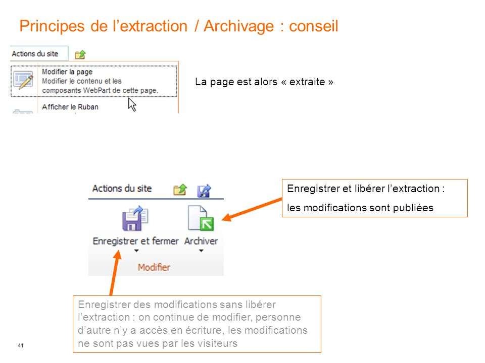 Principes de l'extraction / Archivage : conseil