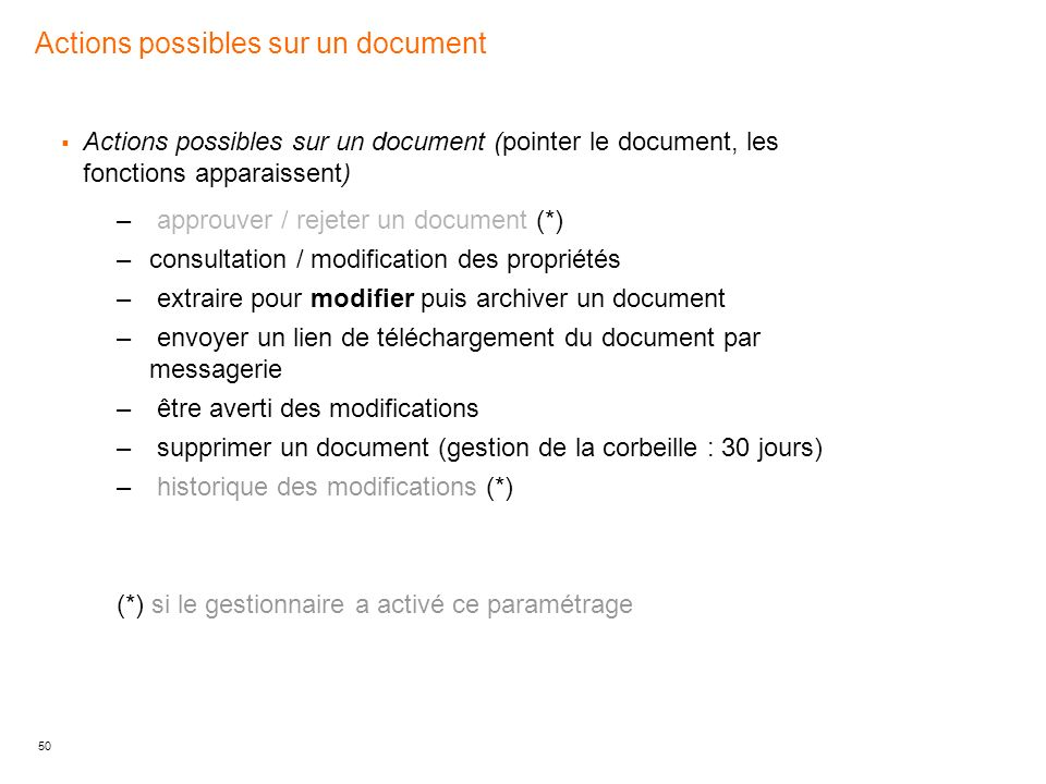 Actions possibles sur un document