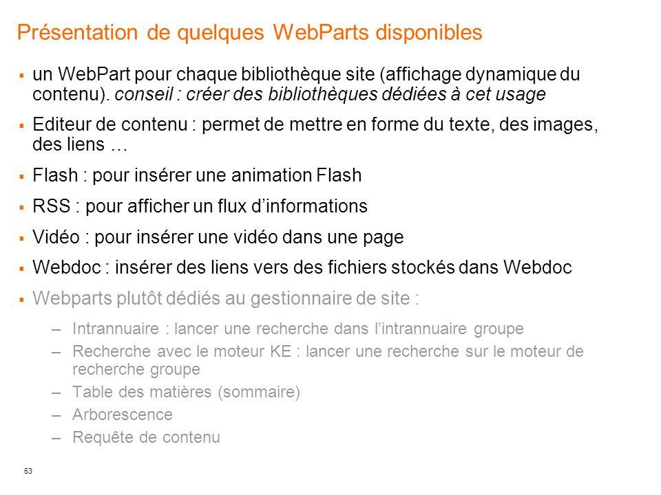 Présentation de quelques WebParts disponibles