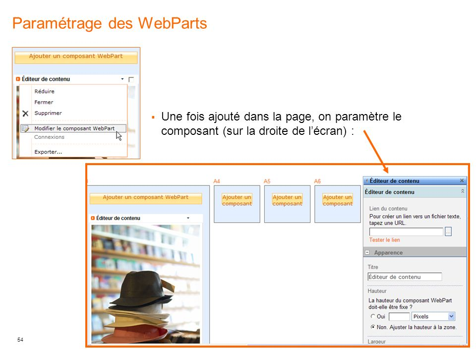 Paramétrage des WebParts