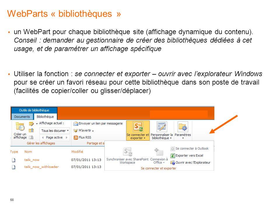 WebParts « bibliothèques »