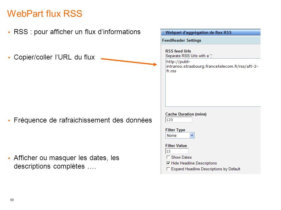 WebPart flux RSS RSS : pour afficher un flux d'informations